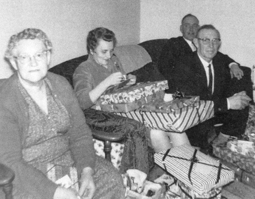 Ethel Arp, left, and family at Christmas Eve 1957.