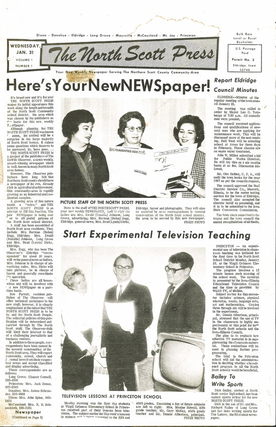 JANUARY: The North Scott Press opened its 50th year in community journalism by asking readers for input to improve the newspaper's coverage, content and design, and by reprinting the original issue of The NSP from Jan. 31, 1968.