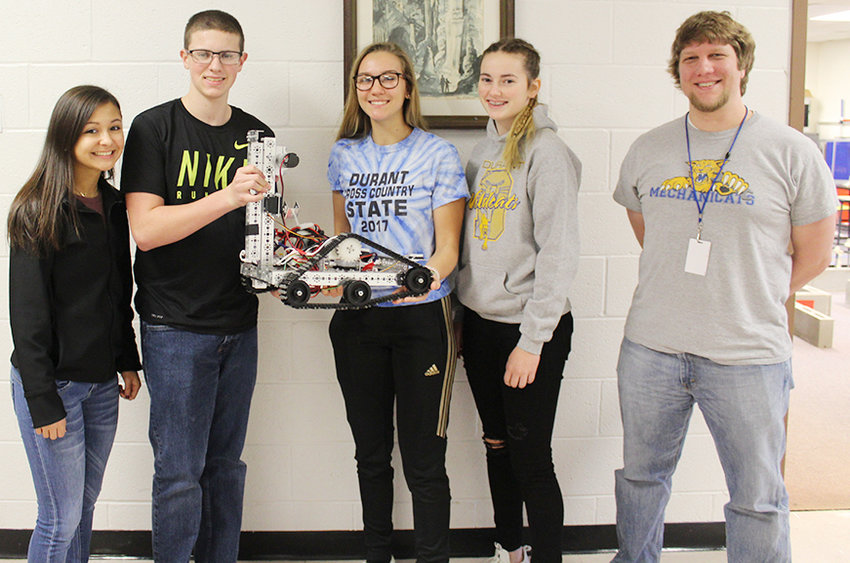 Four students have headlined this year's Durant robotics  team dubbed the Mechanicats. Shown above are (from left) Ellie Berry, Brock Jones, Tori Novinski, Nicole Brown and their adviser and Durant teacher Joey Kramer.