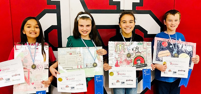 These four Neil Armstrong students took top honors in their school's Hometown Pride Poster Contest. From left: Rachel Insua (first place), Katelyn Buckley (second place), Zxaria Eldredge-McMillan (third place) and Blake Donahue (fourth place).