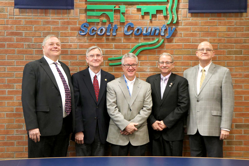 The Scott County Board of Supervisors, from left: John Maxwell, Ken Beck, Tony Knobbe, Brinson Kinzer and Ken Croken.