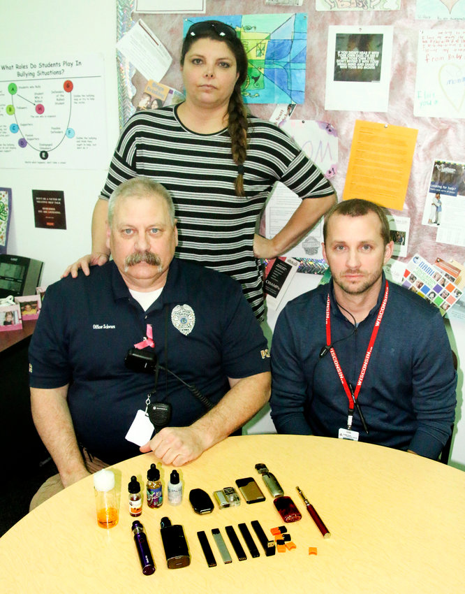 Just a few of the vaporizer products seized by North Scott High School liaison officer Bruce Schwarz, Juvenile Court liaison Amy Schubert and assistant principal Aaron Schwartz.