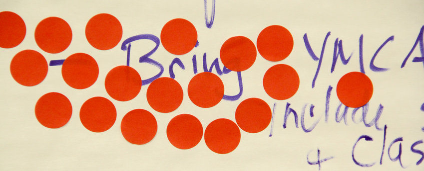 Nineteen red dots make a new Eldridge YMCA the top priority at the Jan. 24 strategic planning session.