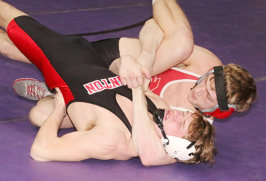 Senior Collin Lewis, who now has 25 pins on the year, made quick work of Clinton's Ethan Wilkins in their first-round match.
