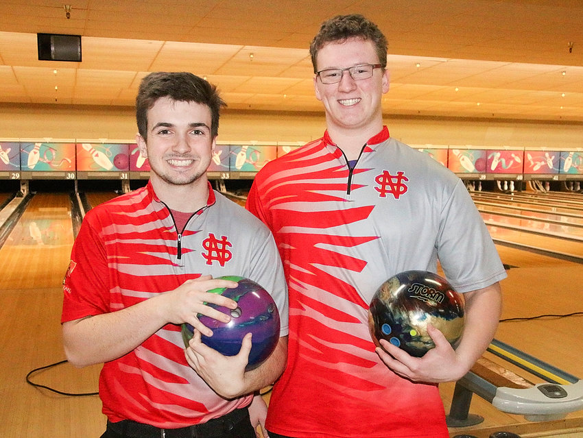 Brock Larson (l) and Isaac Neymeyer are two of the top Class 2A bowlers in the state.