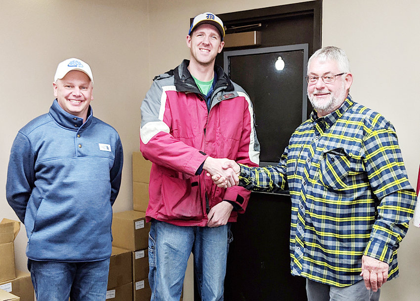 Ryan Tappendorf, center, is the newest addition to the Durant Public Works Department. Tappendorf was hired to fill a full-time vacancy at the Jan. 28 Durant city council meeting. He is shown with Public Works Director Jared Semsch, left, and Durant Mayor Scott Spengler, right.