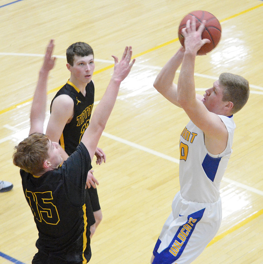 Durant's Bryce Lafrenz (right) is shown taking a jumper over a Tipton defender Feb. 6. Lafrenz missed a buzzer beater in a 44-43 loss to the Tigers.