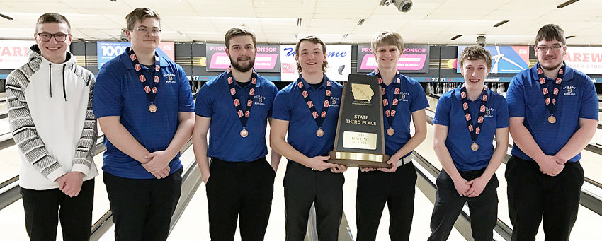 The Durant boys' bowling team won third place in the Class 1A state tournament Feb. 18 in Waterloo with a team score of 2,993. Pictured above (from left) are Kayden Johnson, Sean Odegard, Drew Henderson, Cameron Hoon, Jeremy Carnes, Drake Jehle and Ethan Schlapkohl.