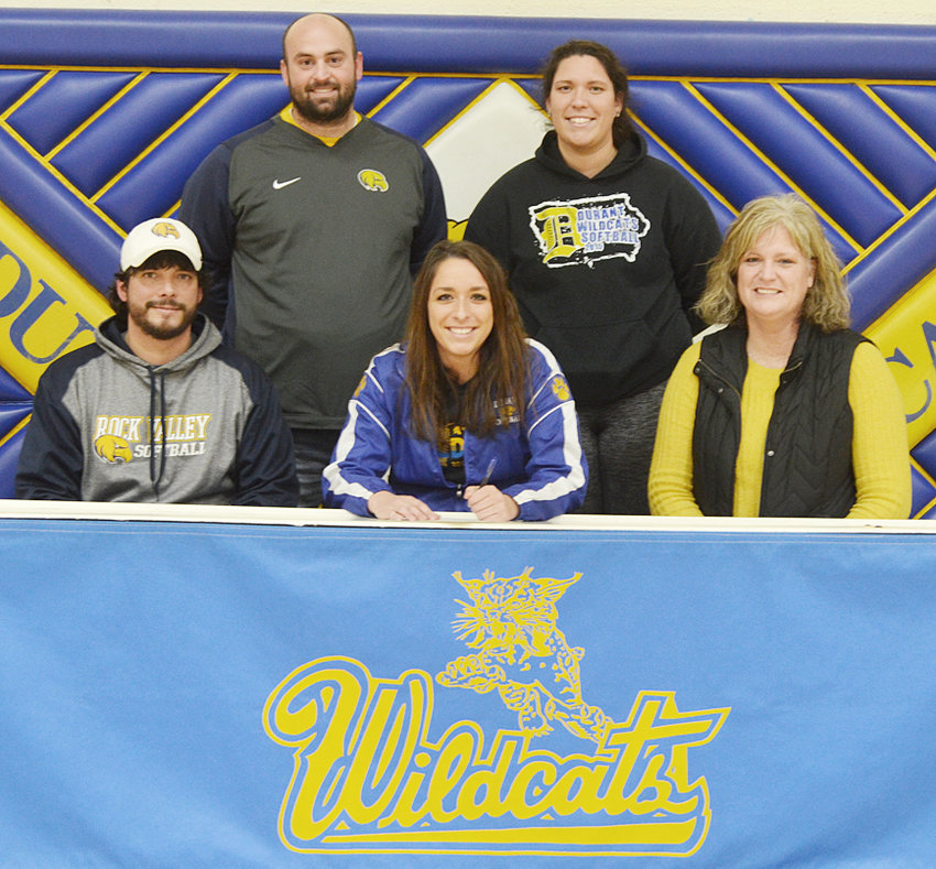 """Durant High School senior Jenna Lawson recently signed a letter of intent to play softball at Rock Valley College, a community college in Rockford, Illinois. Jenna was very familiar with the program due to her older sister and former Durant grad Jasmine Lawson also playing softball for Rock Valley. """"I've been there a lot since my sister went there. It felt like home,"""" said Jenna about her decision to commit to Rock Valley. The left-handed pitcher will look to work her way into the rotation. """"Jasmine had a good career here and Jenna is going to do some good things,"""" said Rock Valley coach Darin Monroe. """"It's been awhile since we've had a lefty pitcher ... We're expecting her to come in and log a lot of innings."""" Jenna is looking forward to taking part in Rock Valley's dental hygiene program. She's pictured above with (seated) her parents Terry and Paula Lawson, and (standing) Rock Valley head coach Darin Monroe and sister Jasmine Lawson."""