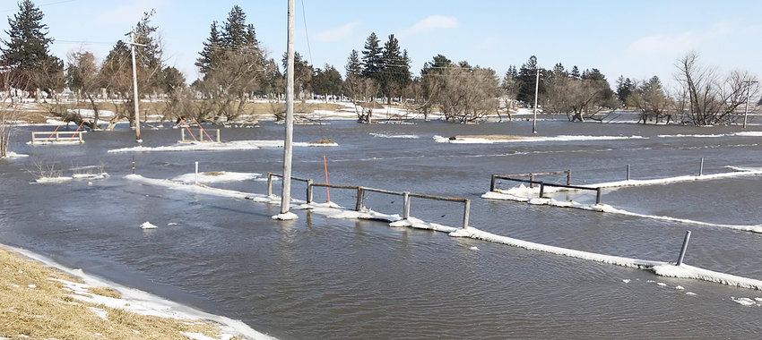 After record snowfall in January, the Wilton-Durant area has been hit with a combination of snow, ice and rain in February, including several storms last weekend (Feb. 22-23). The heavy rains, coupled with area snow melt, caused flooding. Mud Creek is shown severely out of its banks south of the Durant Cemetery.