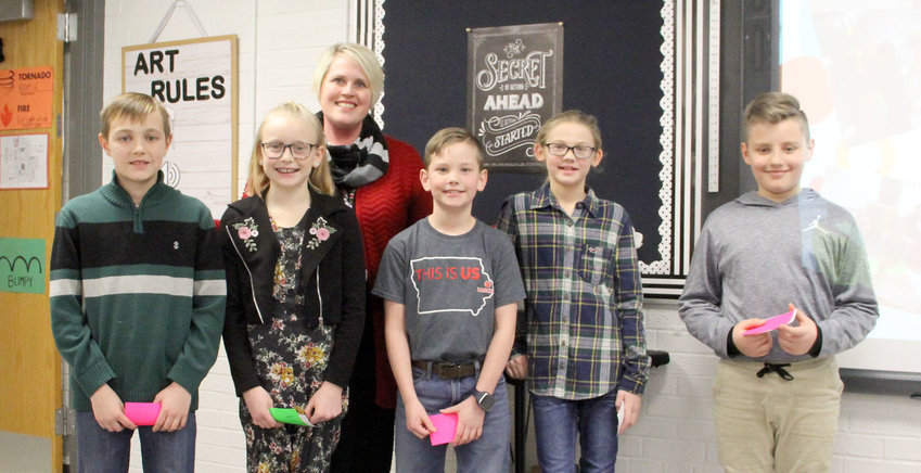 Anthony Vatnsdal, Brynn Reed, Hayden Shaw, Alyssa Schroeder and Christian Perez are among 100 White Elementary students involved in student council. They are shown with adviser Diana Van Hal.