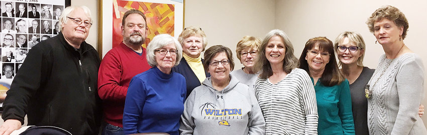 The Wilton High School Alumni Banquet organizing committee met this past Monday evening to discuss and plan for the upcoming annul Wilton alumni banquet April 6. Pictured, from left, are Fred Grunder, Ted Marolf, Dana Arlen, Anita Arnold, Pam Freeland, Amber Owens, Becky Allgood, Regeana Arrowood, Debbie Marolf and Lori Baker.