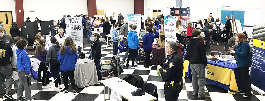 Thirty-one businesses from in and around the Wilton-Durant area filled the Wilton Community Center for a career and job fair March 1. Organizations were able to meet and interact with 320 students from Wilton and Durant high schools and several stayed for a job fair in the afternoon.