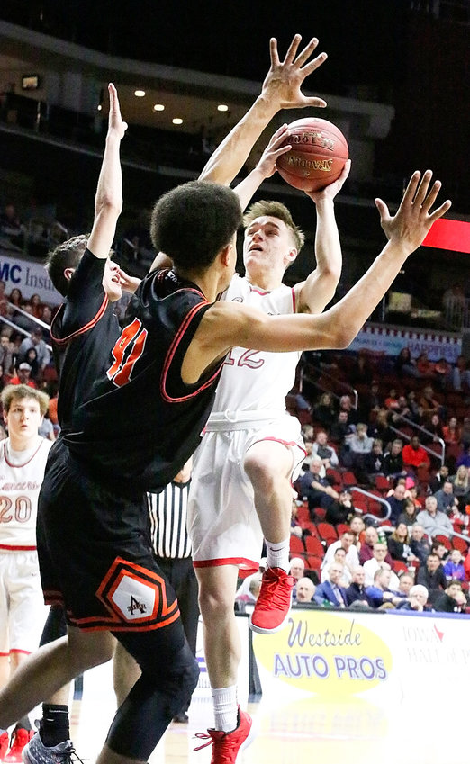 Senior Carson Rollinger made things happen in the paint in the win over the Little Cyclones.