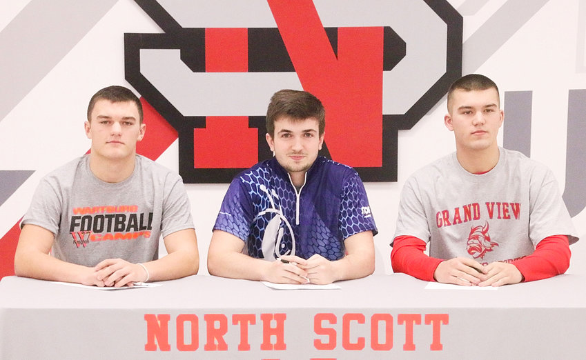 North Scott seniors T.J. Yates, Brock Larson and Hunter Block recently signed on the dotted line to continue their athletic careers in college. Yates will be playing football at Wartburg; Larson will bowl at St. Ambrose University; and Block will compete in trapshooting at Grand View University in Des Moines.