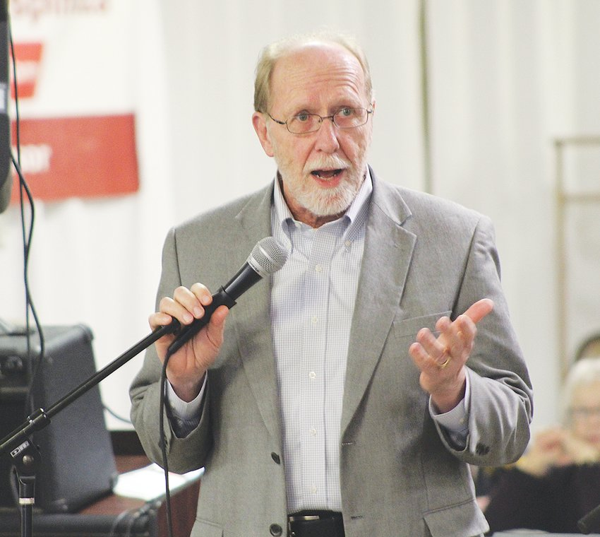 Rep. Dave Loebsack speaks at the West Liberty Dream Catchers soup supper March 15, where he commended the local organization for the good work it does promoting education to underprivileged students.