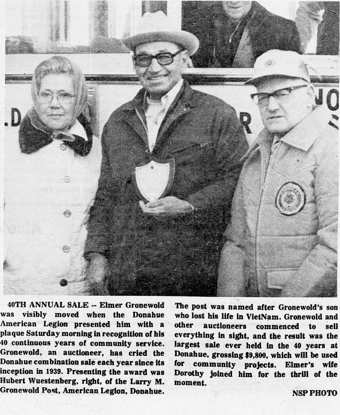 Dorothy and Elmer Gronewold, left, and Hubert Wustenberg pose in 1979 at the 40th annivesary of the Donahue American Legion auction and sale. Elmer Gronewold called that auction for the first 40 years.