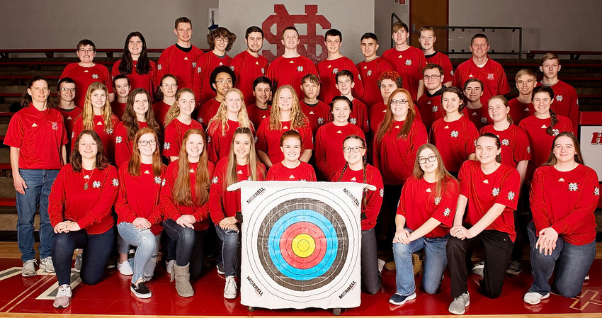 These North Scott students were members of the high school archery team. Front (l-r0: Bailey Vanacker, Kaitlyn Bendickson, Lily Bendickson, Kyleigh Westlin, Emily Kundel, Sophia Cox, Adriana Phillips, Laney Norris and Raven McCabe. Second row: Coach Amy Knoche, Kayla Allen, Madison Knoche, Abby Moeller, Jessica Kroeger, Josee Pardee, Tailor Varner, Mikayla Bagdonas, Kenzie Duncan, Trinity Jewell and Glory Hansel. Third row: Nolan Fahrenkrug, Alannah Skinner, Katrine Breyholtz-Mott, Ivory Butler, Donnie Allen, Gabe Kain, Kyle Skinner, Draven Esser, Keaton Rheingans, Brady Elbe and Kevin Flynn. Back row: Drew Van Hal, Isabella Richards, Nick Upmeyer, Nolan Blodig, Matt Mize, Zach Garrard, Shawn Kundel, Anthony Carter, Carson Youngquist, Alex Upmeyer, Coach Troy Bendickson and Kaleb Brisker.
