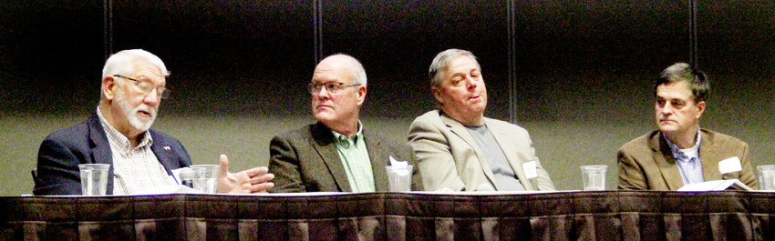 Glen Keppy, Scott Rochau, John Maxwell and Tom Dittmer share stories at the Scott County Economic Development Summit, Feb. 28 at the Quad-City Waterfront Convention Center.