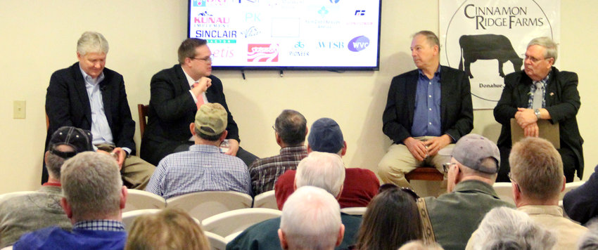 Cinnamon Ridge Farm's Fifth Annual  Agriculture Summit feature panelists, from left, Brian Bastin, John Holevoet, Iowa Farm Bureau Federation president Craig Hill, and moderator Bruce Gaarder.