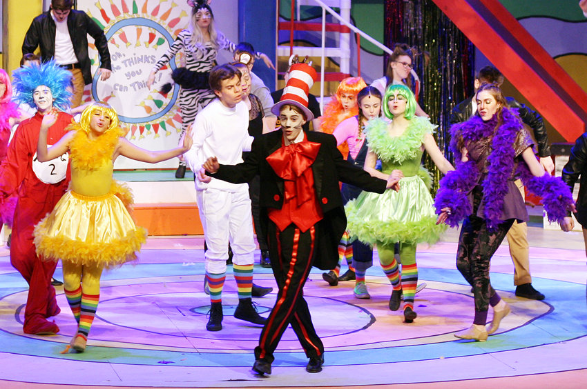 "The cast of ""Seussical"" performs ""Oh The Thinks You Will Think,"" together."