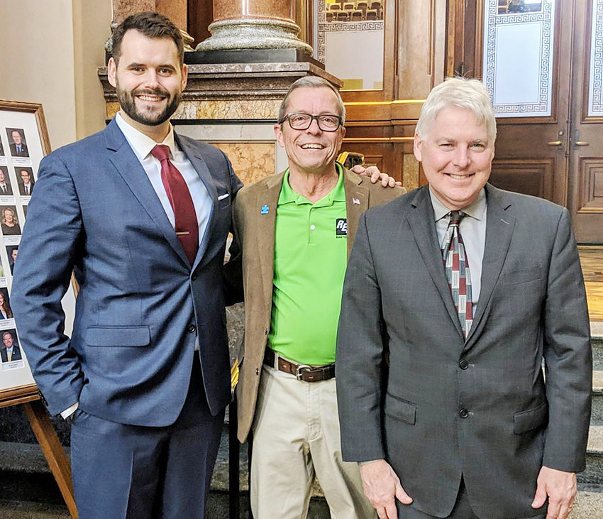 Mike Shuger, center, of Wilton, visited the statehouse March 20 to discuss the work of Eastern Iowa REC. He met with State Senators Zach Wahls (D-Coralville), left, and Mark Lofgren (R-Muscatine), right. He also met with local Rep. Bobby Kaufmann (R-Wilton) while there. Iowa's community-focused electric cooperatives provide power to 650,000 Iowans throughout all 99 counties.