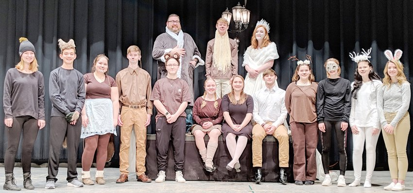 """WHS spring play—The Wilton High School drama department will present """"The Lion, The Witch and The Wardrobe"""" on Thursday and Friday, April 4 and 5, beginning at 7 p.m. in the auditorium. Pictured are members of the cast: Front row from left, Grace Longlett as Dwarf, Josh Hunter as Fenris Ulf, Emma Cowles as Mrs. Beaver, Jacob Reifert as Mr. Beaver, Chloe Wells as a member of Aslan's army, Audrey Guyer as Lucy, Lydia Herter as Susan, Brian Stillman as Peter, Samantha Cowles as a member of Aslan's army, McKinnley Pittman as a member of Aslan's army, Keifer Bray as White Stag, Lilly Wyatt as a member of Aslan's army; back row, Mr. Pete Duytschaever as Father Christmas, Isaac Hunter as Aslan and Olivia Mollenhauer as White Witch."""
