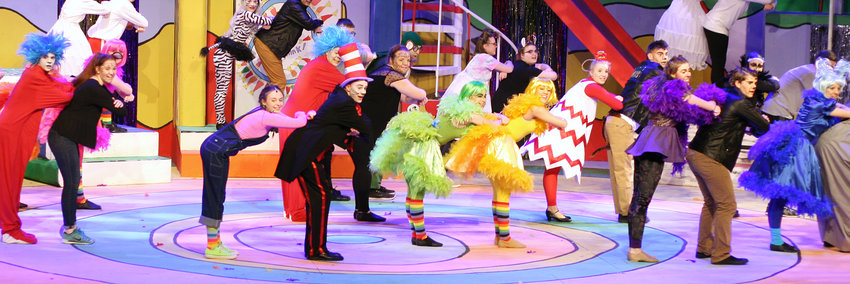 """The cast of """"Seussical"""" performs """"Oh The Thinks You Will Think,"""" together."""