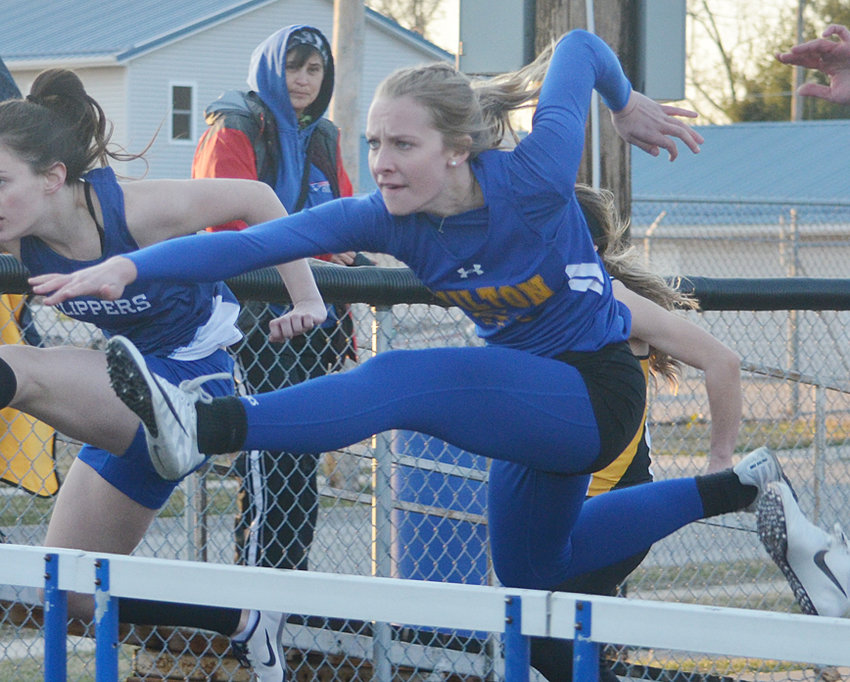 Wilton's Linsey Ford has been finishing ahead of the competition in the 100-meter hurdles this season, claiming another title in West Liberty April 2, finishing in a time of 16.41.