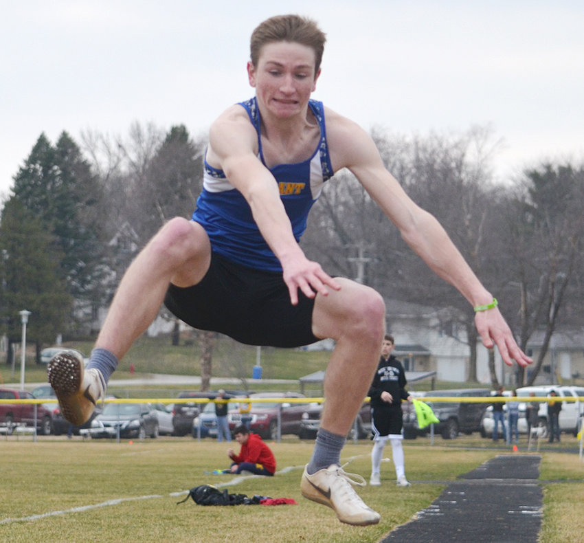 Jake Willkomm finished second in the long jump at Tipton April 5.
