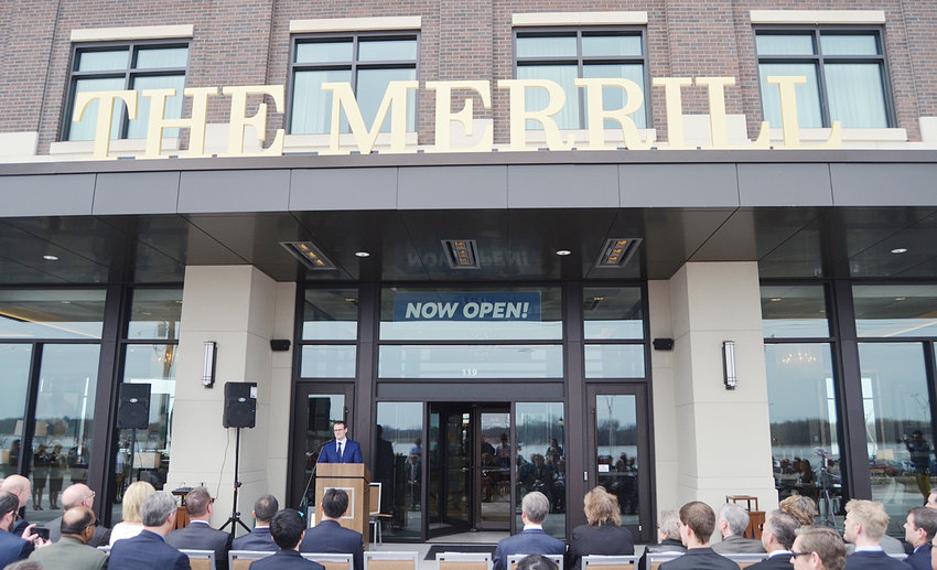 "The Merrill Hotel in downtown Muscatine is shown during its grand opening event held April 12, 2018. Iowa Lt. Gov. Adam Gregg was the featured speaker that day. The $42 million hotel was named after Stanley Merrill Howe, a Muscatine native who served as chair and CEO of Hon Industries. In just a year of existence, The Merrill was recently named the ""No. 1 Best Hotel in Iowa"" by U.S. News and World Report."