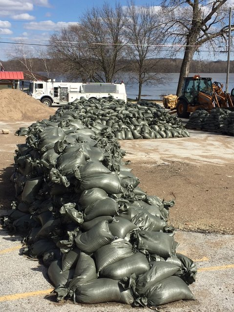 Leftover sandbags may be used to top levees if the river continues to rise in Princeton.