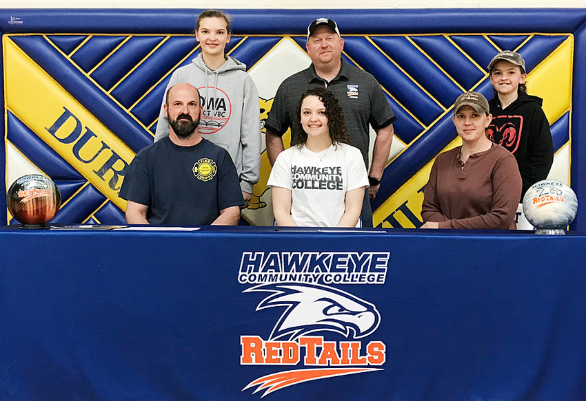 Durant senior Jada Rock recently signed a letter of intent to bowl at Hawkeye Community College in Waterloo. Hawkeye had been recruiting Rock and watched her at meets this season. She hopes to be in the top four next season while looking to major in veterinary assisting and animal science. She's pictured with her parents (seated) Ronnie and Lisa Rock; and (standing) sister Rylie, Hawkeye head coach Randy Dodge and brother Dalton.