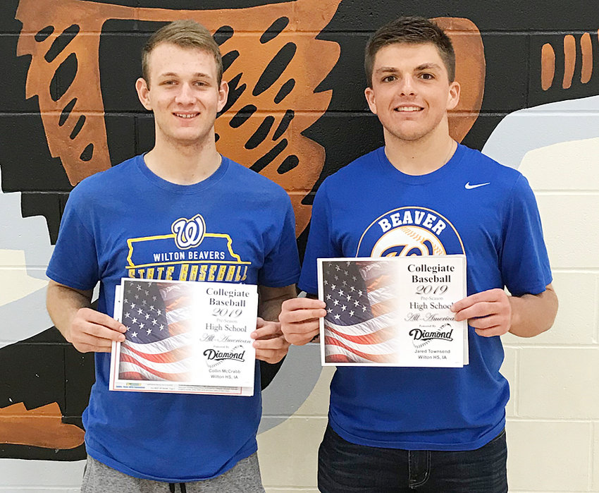 Wilton seniors Collin McCrabb (left) and Jared Townsend were selected to the 2019 collegiate baseball preseason high school All American Second team by Collegiate Baseball Magazine, courtesy of Diamond Sports.  Both were selected as utility players and will lead the Beavers this season as the top two pitchers and in power positions in the batting lineup.