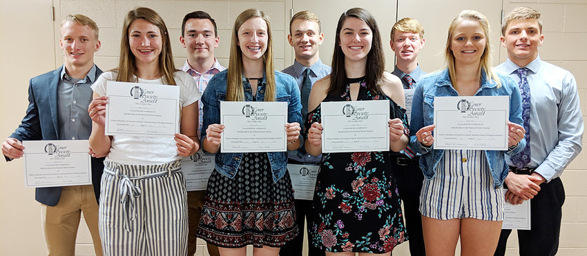 The Wilton Chamber of Commerce held its annual senior National Honor Society luncheon on Wednesday, April 24, in the lower level of Community Bank & Trust. The luncheon gave the opportunity for local chamber businesses to congratulate the senior members and to talk about future plans. Pictured from left, Jerome Mays, Aubrey Putman, Charles Martin, Kortney Drake, Collin McCrabb, Emily Lange, Isaac Hunter, Shelby Oien and Jared Townsend.