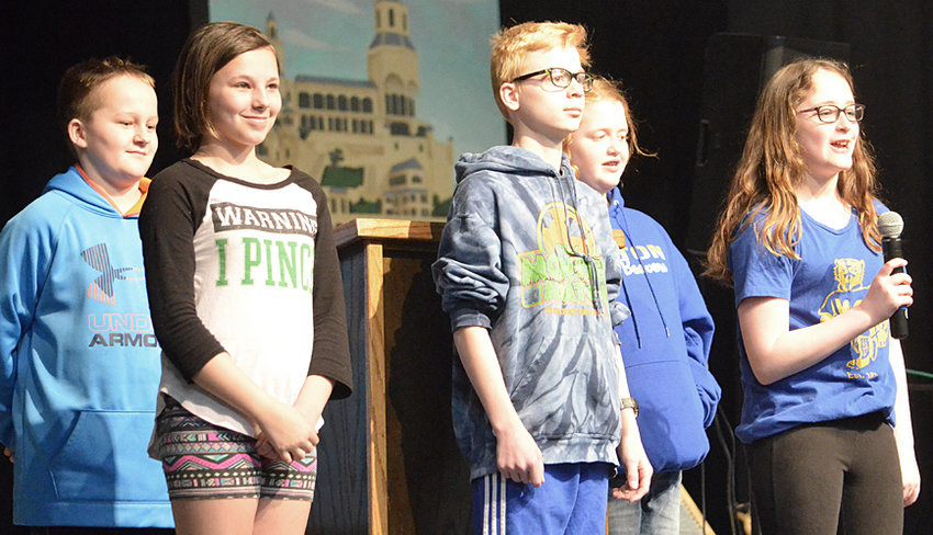 Wilton Elementary School's Leadership Day April 3 featured several student speakers from grades K-6. Pictured above (from left) are Trent Valet (sixth grade), Lacee Mayberry (sixth grade), Gabriel Breed (sixth grade), Bridget Harkness (fifth grade) and Samantha Daufeldt (sixth grade). Valet and Harkness served as emcees of the event, which featured numerous speakers in front of a large crowd in the school's auditorium.