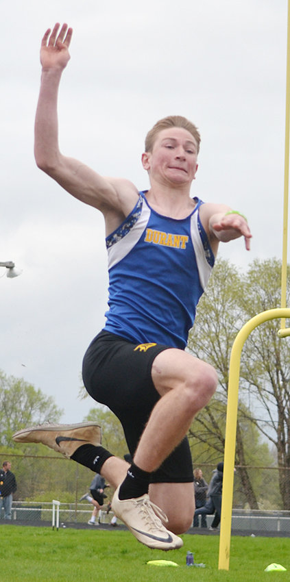 Durant's Jake Willkomm won two River Valley Conference titles in Camanche. The first was in the long jump (20-4 1/2) and the second was in the 200-meter dash (23.26).