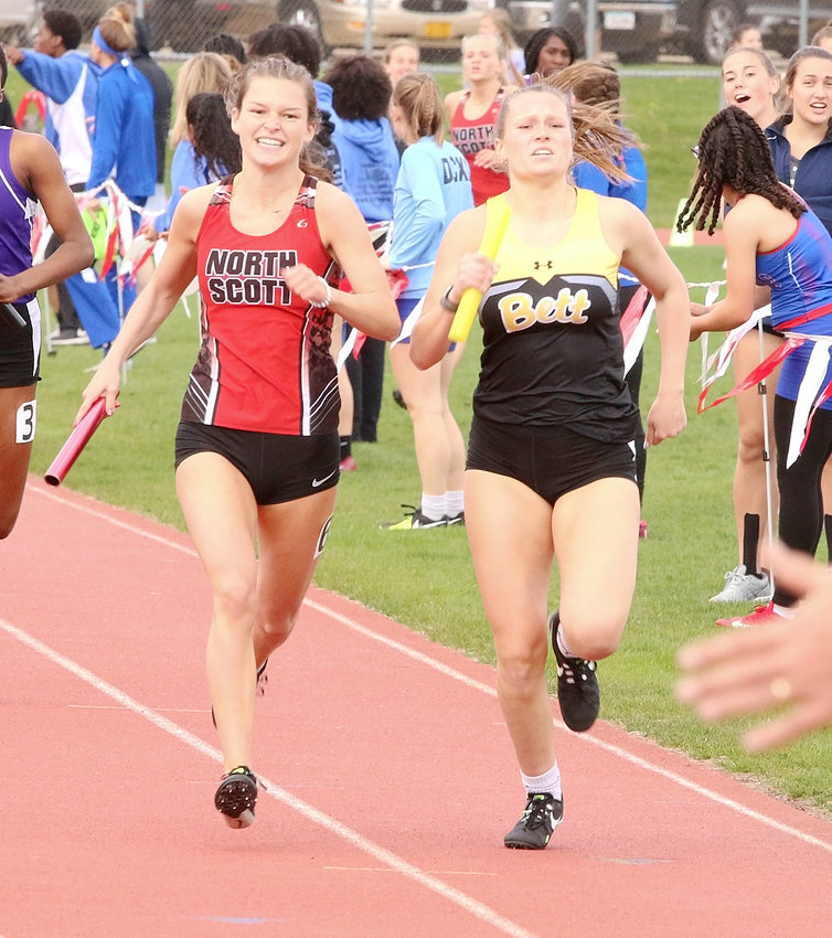 After running an unbelievable 400-meter anchor leg in the sprint medley relay, Lancer senior Sydney Fuller caught Bettendorf's Allison Whitaker at the wire. North Scott finished second in the event and qualified for state.