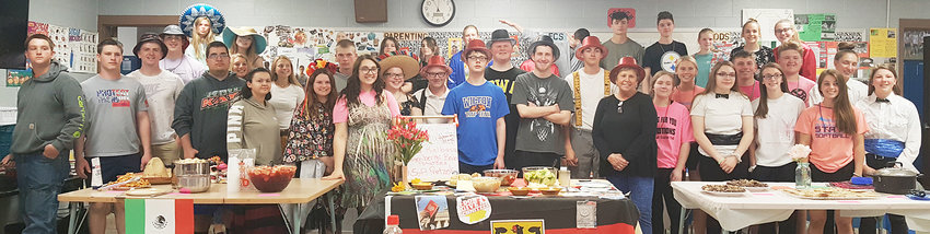 The Durant and Wilton foods and nutrition classes (pictured above) prepared their 2019 International Banquet on Tuesday, May 14 for the high school staff. Thirty-nine students prepared food, decorated tables and dressed in ethnic clothing representing nine different countries — China, Japan, Korea, Italy, Mexico, Germany, Brazil, Australia and France.