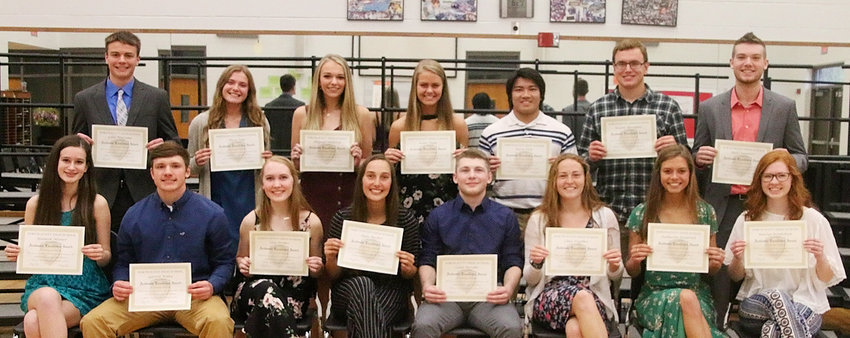 Senior Excellence GPA 4.0: Seniors who were recognized for Academic Excellence included, front (l-r): Alannah Skinner, Garrett Willey, Elsa Treiber, Rylie Rucker, Caleb McCabe, Chloe Engelkes, Katie Jackovich and Kaitlyn Bendickson. Back: Colin Wiersema, Alissa Zogg, Abigayle Shekleton, Kami Nagle, Kevin Diep, Keaton Rheingans and Reece Sommers.