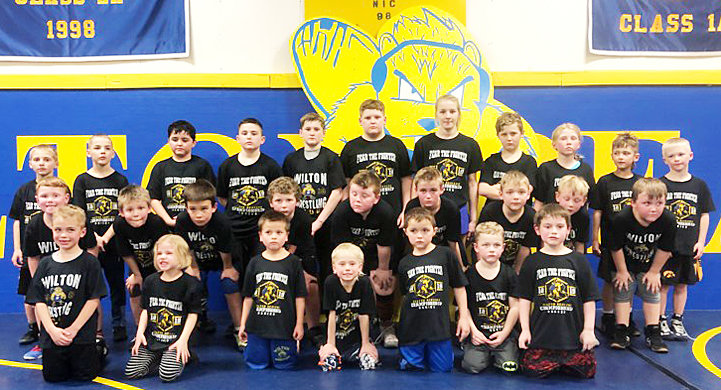 The Iowa AAU kids state tournament was held Feb. 23-24 at Wells Fargo Arena in Des Moines and the Iowa AAU Super Peewee state tournament was held March 2-3 at Young Arena in Waterloo. Pictured above are Wilton Wrestling Club wrestlers who participated in the tournaments, along with their weight classes. Front row, from left, Tommy Derksen-48, Katie Elam-40, Lincoln Castillo-44, Maxson Fitzer-44, Koy Miller-56, Sawyer Weber-52, Ashton Brown-59; middle row, Kellen Chaffee-65 , Weston Stranberg-68, Drew Harris-74, Hunter Hill-75, Brogan Axtell-124, Dawson Driscoll-60, Cash Smith-80, Malachi Schenkel-52, Jasper Furne-83; back row, Dawson Kaska-53, Michael Elam-58, Thatcher Murgia-105, Gunnar Tyler-115, Jensen Boorn-103, Draven Cole-160, Hannah Rogers-100, Hayden Hill-94, Josslyn Holladay-65, Romann Derksen-58, Troy McQuillen-54.