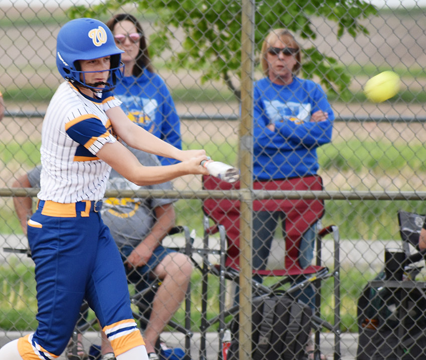 Ella Caffery hit two home runs in Wilton's opening doubleheader against Tipton May 23, which included two 12-0 victories.