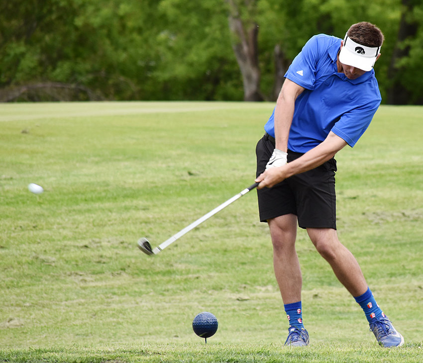 Jared Townsend is shown teeing off on a par-three in state action at Marshalltown.