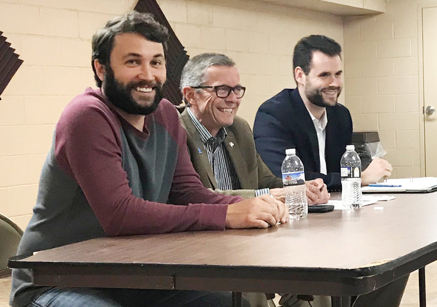State Rep. Bobby Kaufmann (left) and Sen. Zach Wahls (right) are shown during the Wilton Chamber of Commerce's annual government officials luncheon May 13 at Community Bank & Trust. Also shown is moderator Mike Shuger of Wilton Realty (center).