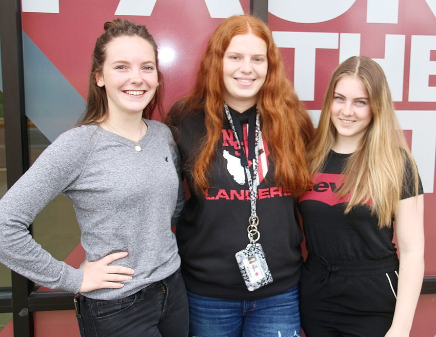 North Scott's three foreign exchange students have enjoyed their year as Lancers. From left: Sofie Nijboer from the Netherlands, Mara Schindler from Germany, and Ida Martina Krogh from Sweden.