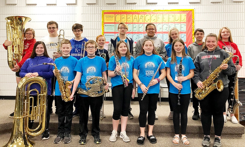 NSJH students who were chosen for the St. Ambrose Honor Band in November included, front (l-r): Aunica Jecks, tuba; Carter Harms, alto sax; Robert Palmer, French horn; Sophia Popelka, oboe; Adison Brewer, flute; Peyton Madison, clarinet; and Abby Allen, tenor sax. Back: Chloe Strand, tuba; Joe Drahozal, trombone; Matthew Anderson, trombone; Bella Warm, trombone; Brody Brown, trumpet; Harli Herrington, trumpet; Rachel Sorensen, trumpet;  Anthony Maldonado, bass clarinet; and Megyn Thompson, bass clarinet.