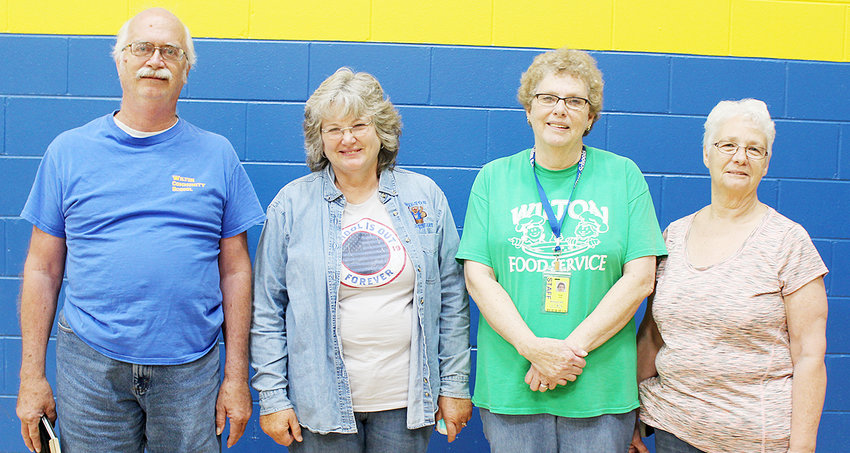 With a combined 114 years of experience, Wilton School District bids farewell to five retiring staff members this year. Pictured above are retirees Brian Reed, Cindy Axtell, Cindy Hull and Judy Rathjen. Custodian Darold Adams, who had 24 years of service, also retired but is not pictured. Reed worked for Wilton as a custodian for the past 28 years. Axtell worked as an associate for 28 years. Hull served students as a cook for the past 10 years. Finally, Rathjen was employed as an associate for the past 24 years.