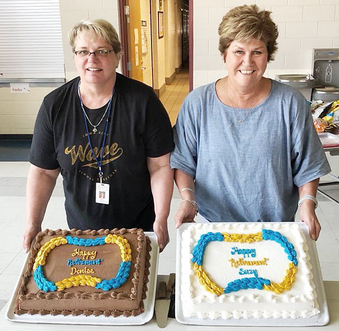 """Denise Paustian and Suzy Bohnsack are retiring from Durant School after a combined 60 years of service. Bohnsack began her career with Durant as a student teacher and has continued for the past 34 years. She taught remedial math for nine years, then transitioned to the classroom when a position came open due to retirement. For the past 25 years she has been teaching third and fourth grade. """"It has been a privilege to work in this district and be a part of this family for so long,"""" said Bohnsack. Paustian has been with Durant for 26 years. She began in the fall of 1993 as a part-time at-risk tutor. Shortly after she began, there was a need for an associate in a resource classroom. Paustian took the position and worked part-time doing both during her first year. For the next five years she worked as a full-time associate in the resource room. She moved into the computer lab and worked there for seven years. Paustian has spent the last 13 of her 26 years working as the district's technology coordinator. During her time employed with the school, she attended college at night in order to earn an associate's degree in microcomputer information technology - networking and then earned a bachelor's degree in education. She also taught for a few years during her tenure as well holding the other positions."""