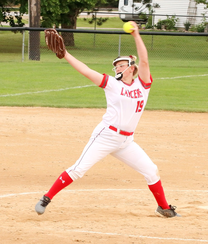 Lancer sophomore Ryann Cheek struck out 13 West batters in North Scott's 4-3 win over the Falcons in the first game of Wednesday's MAC doubleheader.