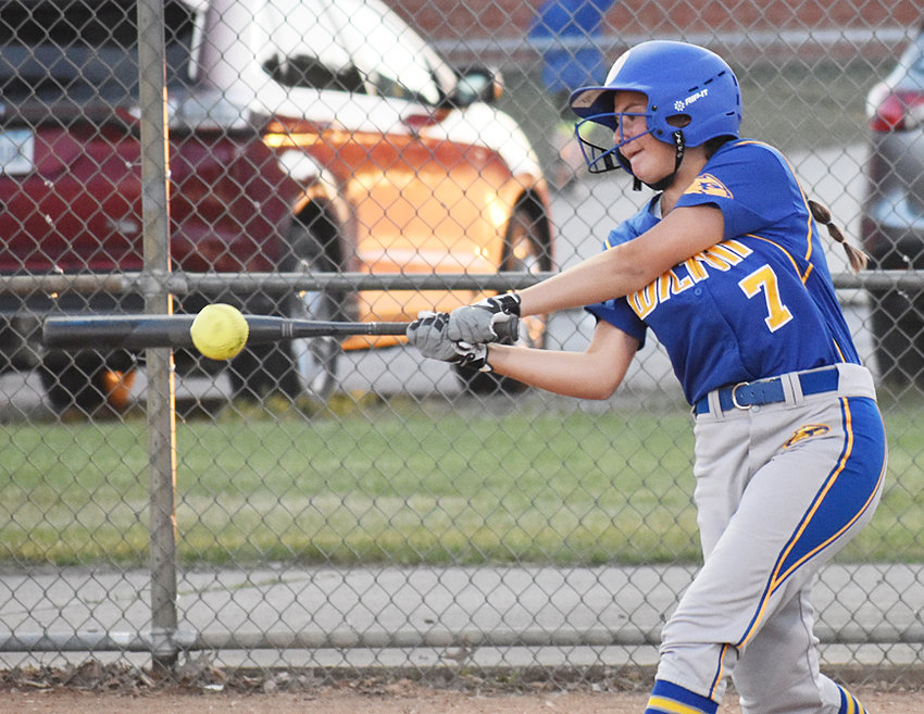 Wilton freshman Maddy Wade has taken advantage of a pinch-hitting spot in the potent Beaver lineup in recent weeks. She's shown above getting a hit at home against Bellevue June 13.